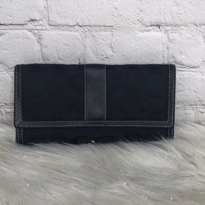 Coach Black Signature Canvas Leather Tri Wallet